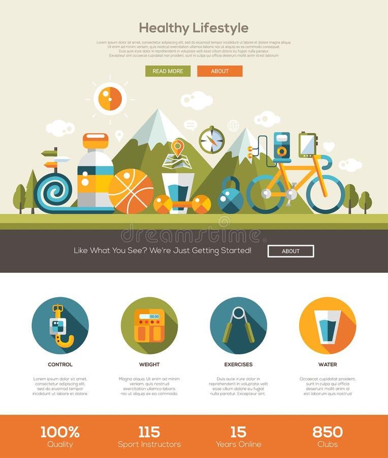 Zdrowy styl życia strony internetowej szablon z chodnikowem i ikonami royalty ilustracja