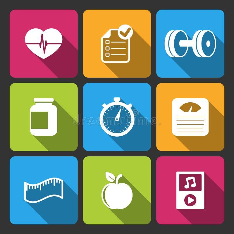 Zdrowy stylu życia iconset dla sprawności fizycznej app ilustracja wektor
