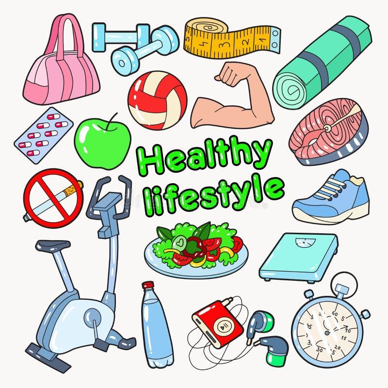 Zdrowy stylu życia sporta Doodle z Gym, jedzeniem i witaminami, royalty ilustracja