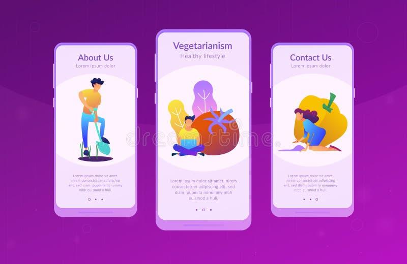 Zdrowy stylu życia UI UX app interfejsu szablon royalty ilustracja