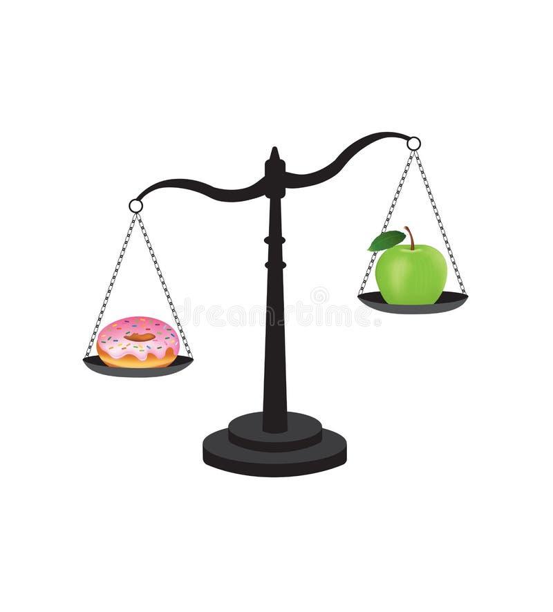 Zdrowy versus niezdrowy jedzenie ilustracji