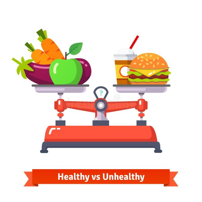 Zdrowy versus niezdrowy jedzenie royalty ilustracja