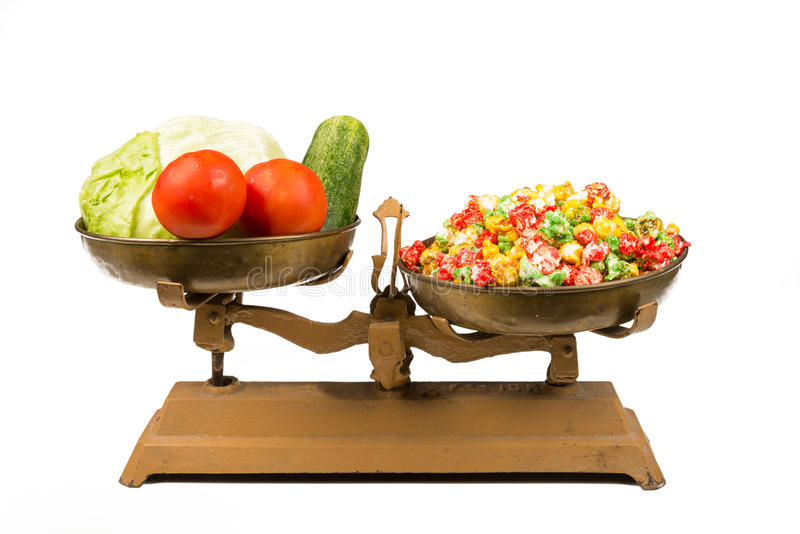 Zdrowy versus niezdrowy, pojęcie zdjęcie stock