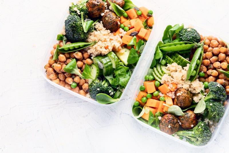 Zdrowy weganinu lunchu pudełko Czyści diety łasowania pojęcie zdjęcie royalty free