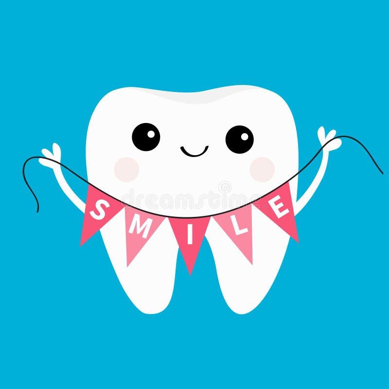 Zdrowy ząb ikony mienia chorągiewki flaga uśmiech Oralna stomatologiczna higiena Dziecko zębów opieka Śliczny postać z kreskówki  royalty ilustracja