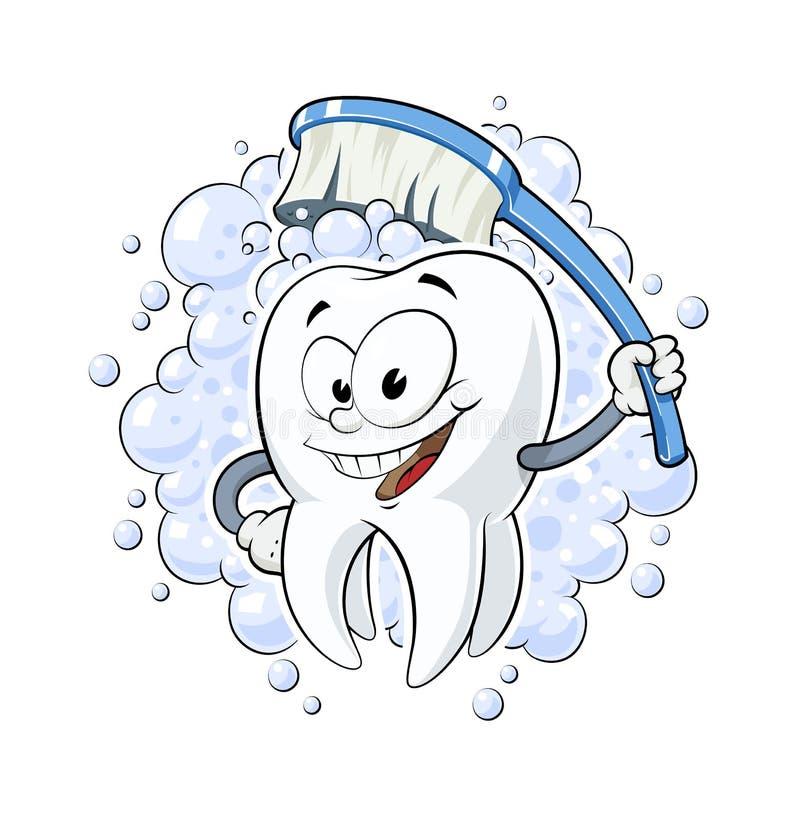 Zdrowy ząb z stomatologicznymi szczotkarskimi wektorowymi ilustracyjnymi białymi tło zębami czyści zdrowie uśmiechniętej kreskówk royalty ilustracja