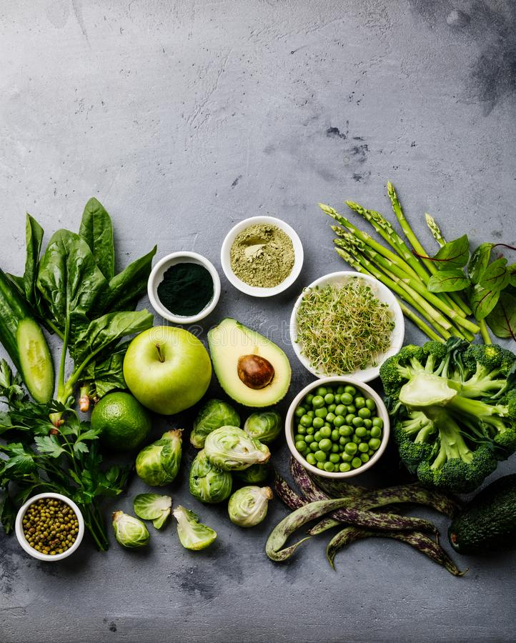 Zdrowy Zielonego jedzenia Proteinowy źródło dla jaroszy zdjęcia royalty free