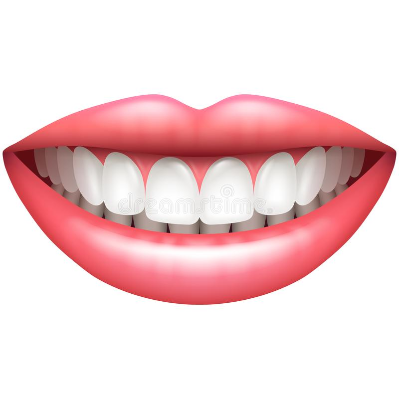 Zdrowych zębów kobiety piękny uśmiech odizolowywający na białym wektorze ilustracji