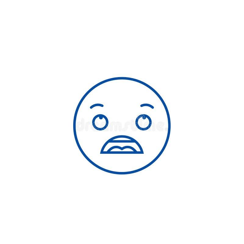 Zdumiewający emoji linii ikony pojęcie Zdumiewający emoji płaski wektorowy symbol, znak, kontur ilustracja ilustracji