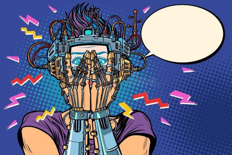 Zdziwiona cyborg kobieta w VR szkłach ilustracja wektor