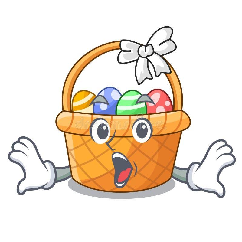 Zdziwiona Easter kosza miniatura kształt maskotka ilustracja wektor