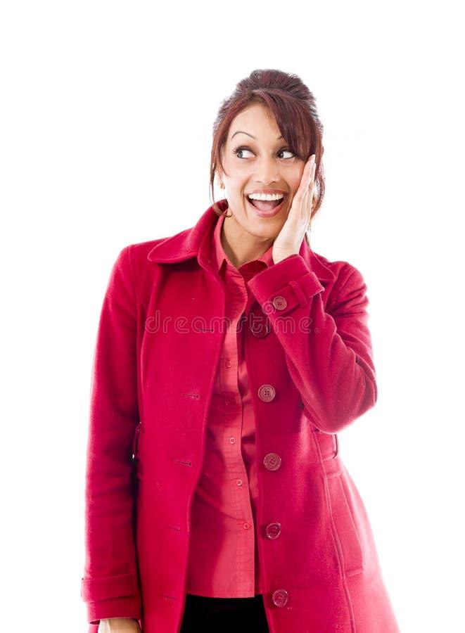 Download Zdziwiona Indiańska Kobieta Patrzeje Szczęśliwy Odosobnionego Na Białym Tle Z Rozpieczętowanym Usta Zdjęcie Stock - Obraz złożonej z szczęście, ręki: 41950382