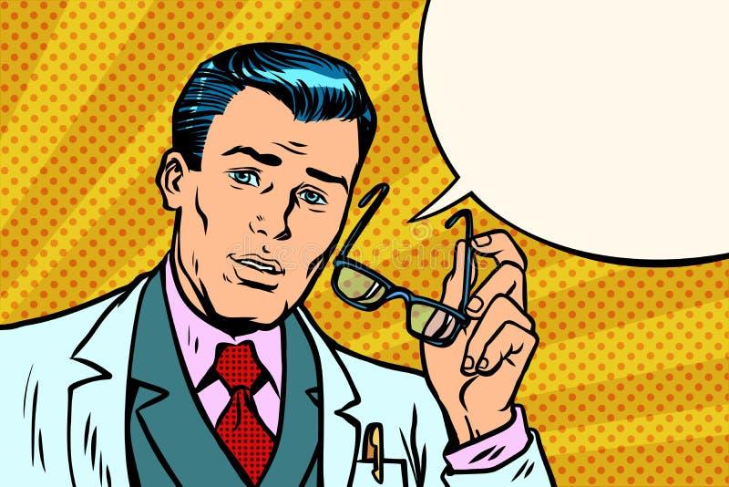 Zdziwiona mężczyzna lekarka, naukowiec lub ilustracji