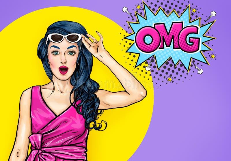 Zdziwiona młoda seksowna kobieta z otwartym usta w okularach przeciwsłonecznych w komiczka stylu Zadziwiająca dama mówi OMG ilustracja wektor