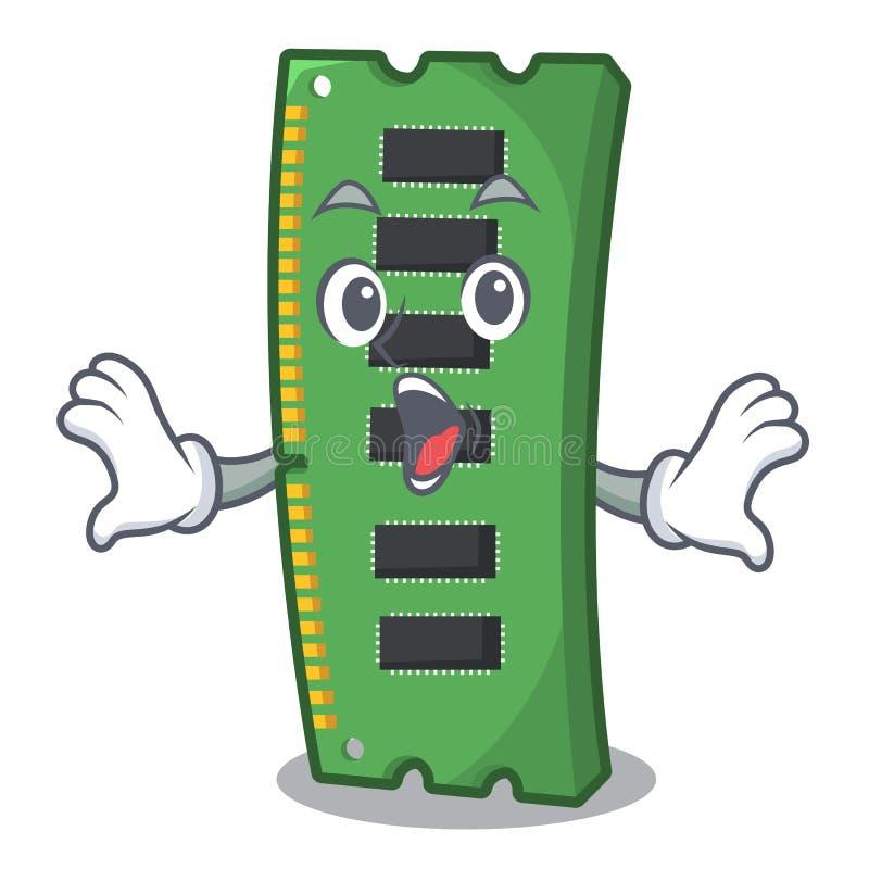 Zdziwiona RAM karta pamięci w peceta charakterze ilustracja wektor