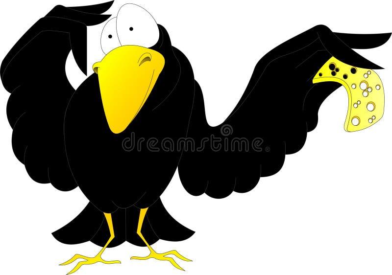 Zdziwiona wrona z kawałkiem ser ilustracja wektor