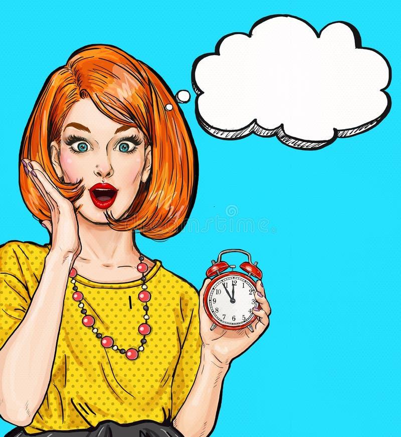 Zdziwiona wystrzał sztuki dziewczyna z zegarem z myśl bąblem Partyjny zaproszenie urodzinowej karty prezenta królik Hollywood, gw ilustracja wektor
