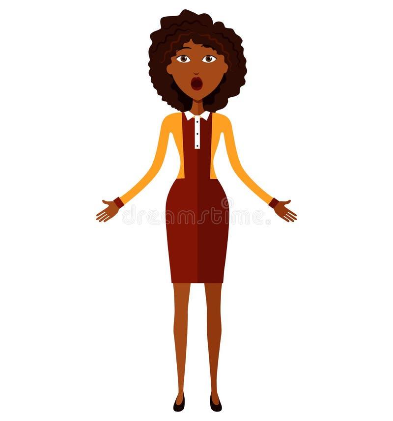 Zdziwionego amerykanina afrykańskiego pochodzenia biznesowa kobieta rzuca up jego ręki fotografia stock