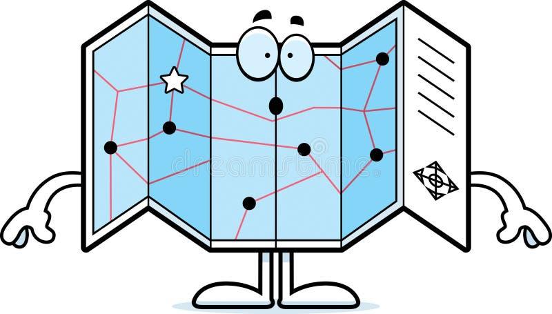 Zdziwionej kreskówki Drogowa mapa ilustracja wektor