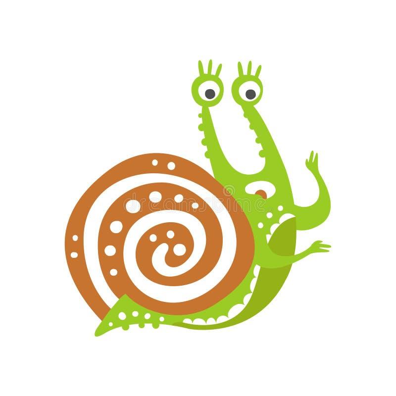 Zdziwiony śmieszny ślimaczka charakter, śliczna zielona ręka rysująca mollusk wektorowa ilustracja royalty ilustracja