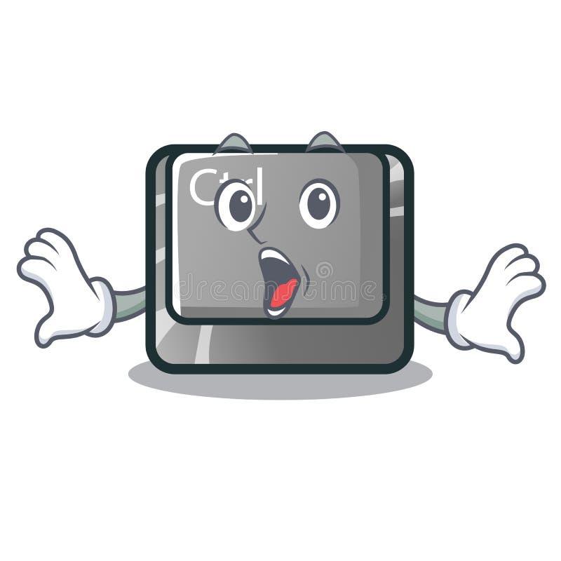Zdziwiony charakteru ctrl guzik dołączający na komputerze ilustracja wektor