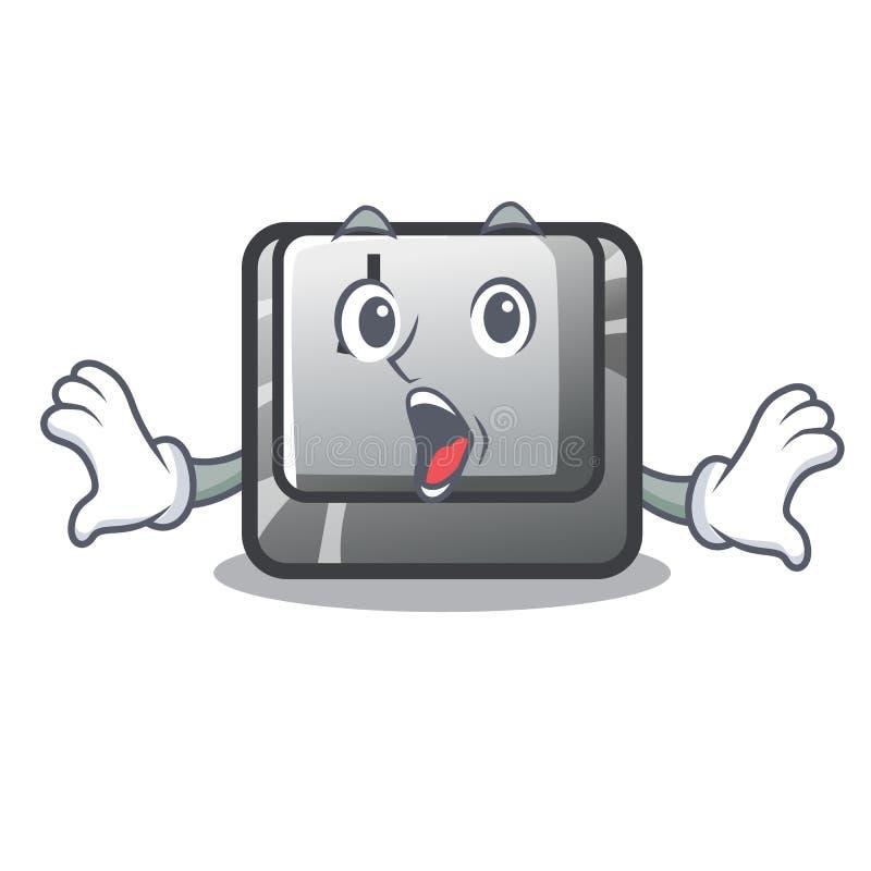 Zdziwiony guzik J na komputerowym charakterze ilustracja wektor