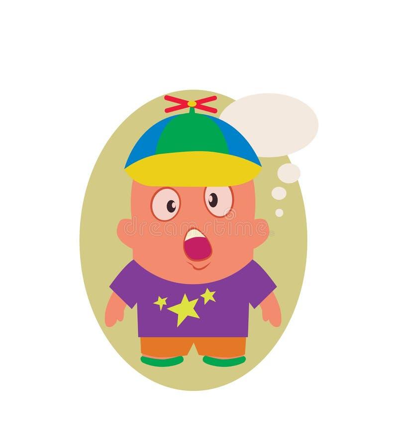 Zdziwiony i Bezmowny dzieciak, Śmieszny Avatar Mały osoby postać z kreskówki w Płaskim wektorze ilustracji
