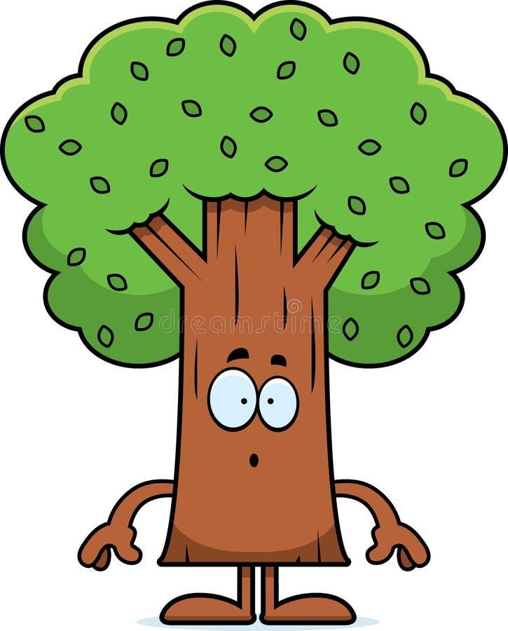 Zdziwiony kreskówki drzewo ilustracji