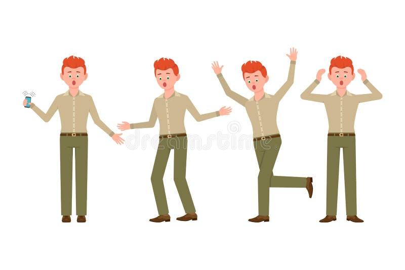 Zdziwiony, szokujący, zadziwiający czerwony włosiany młody człowiek w zieleni, dyszy wektorową ilustrację Zaakcentowany, zmartwie ilustracja wektor