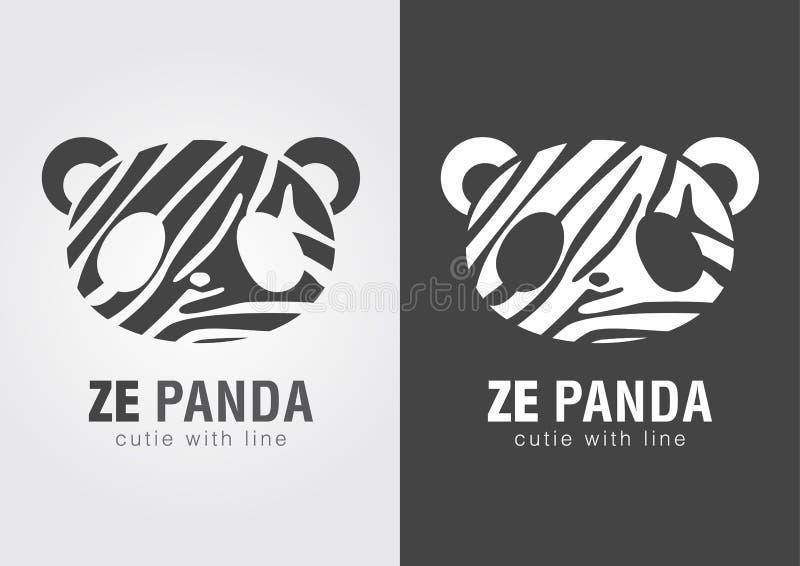 Ze panda en perfekt kombination av sebran och pandan vektor illustrationer