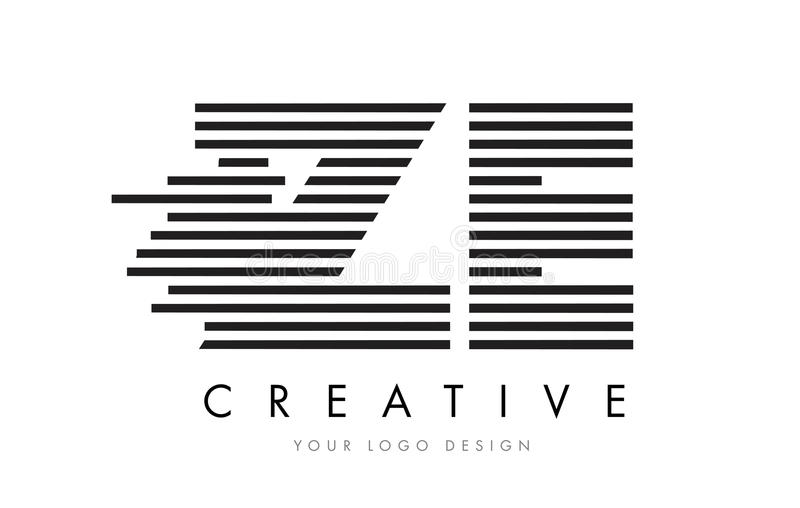 ZE Z E Zebra Letter Logo Design with Black and White Stripes royalty free illustration