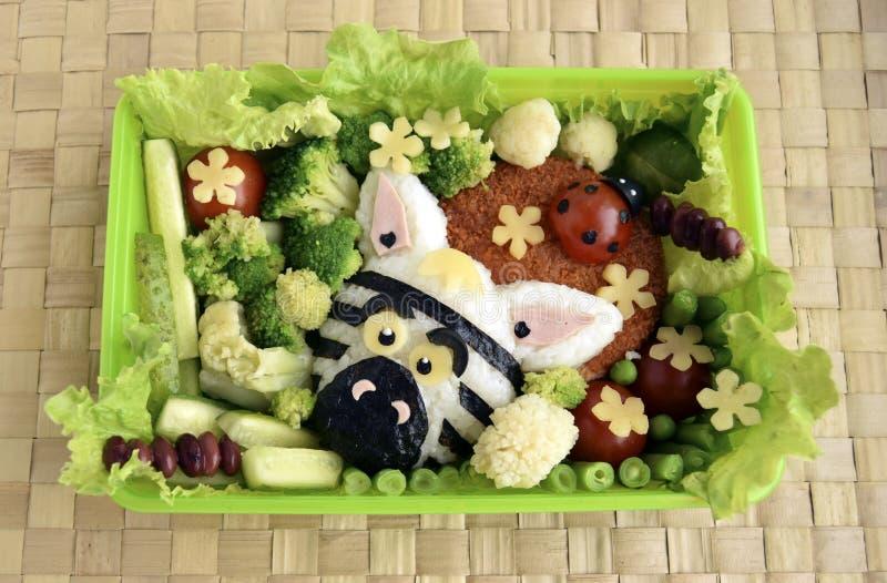 A zebra é feita do arroz Kyaraben, bento imagens de stock