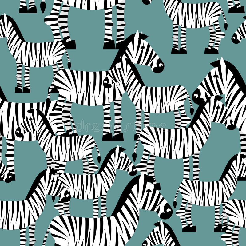Zebra bezszwowy wzór Sawanna Zwierzęcy ornament Dzikiego zwierzęcia te ilustracji