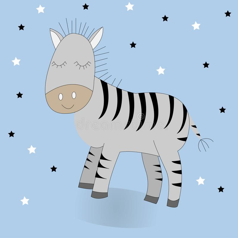 Zebra bonito dos desenhos animados ilustração da cópia do vetor ilustração stock