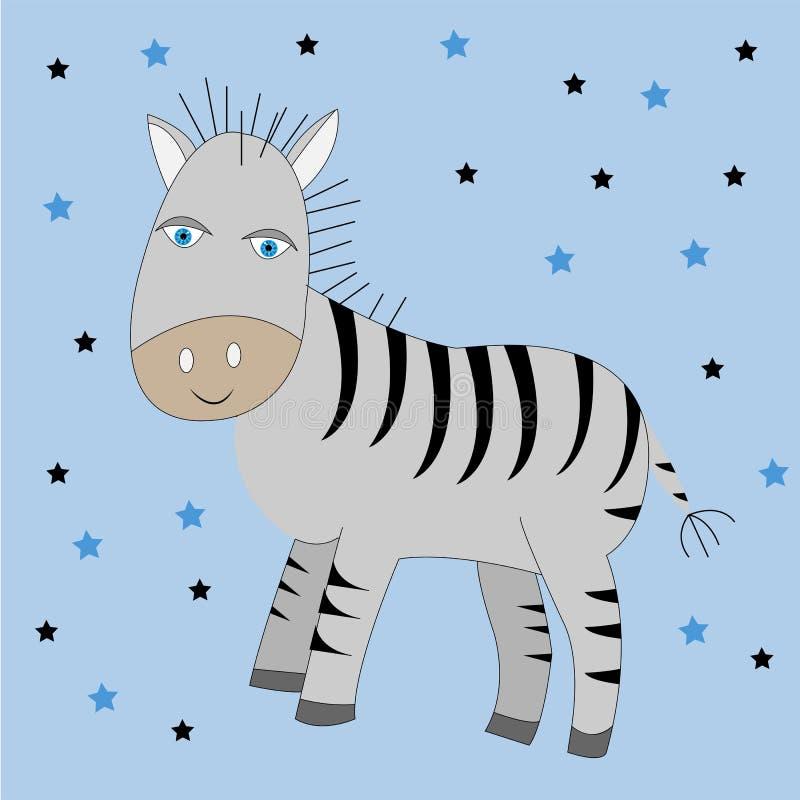 Zebra bonito dos desenhos animados ilustração da cópia do vetor ilustração do vetor
