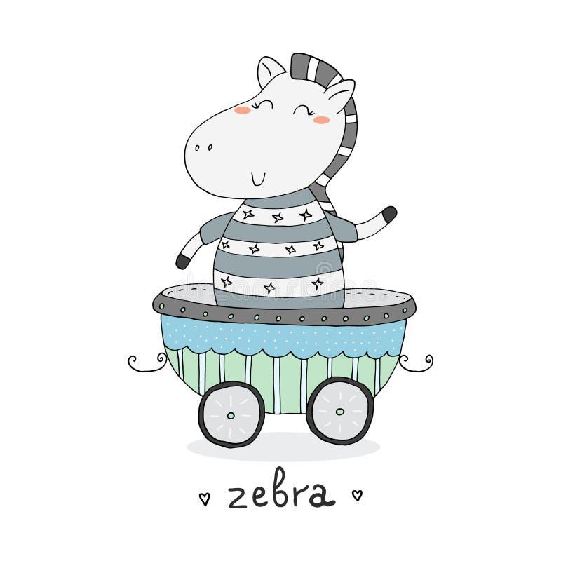 Zebra bonito tirada mão no reboque Cópia para crianças ilustração stock