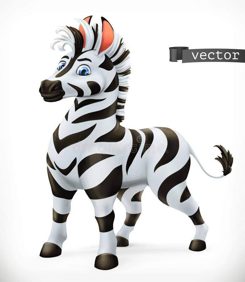 Zebra cartoon character. Funny animal, 3d vector icon stock illustration