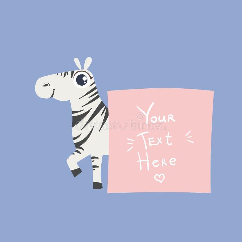 Zebra con il modello per il messaggio royalty illustrazione gratis