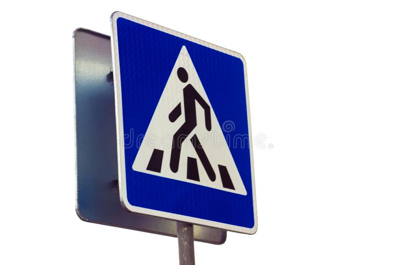 Zebra crossing, pedestrian cross warning traffic sign in blue and pole. isolated stock illustration