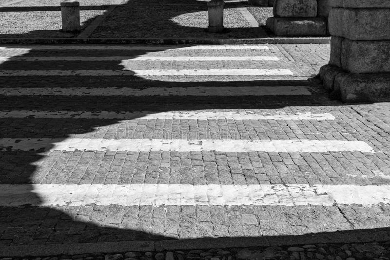 Zebra crossing and shadows royalty free stock photo