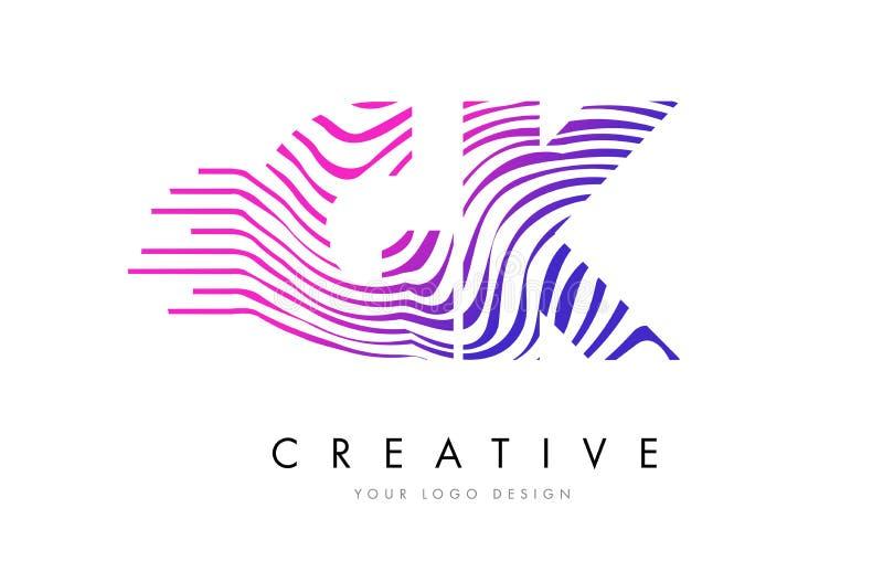 A zebra de GK G K alinha a letra Logo Design com cores magentas ilustração stock