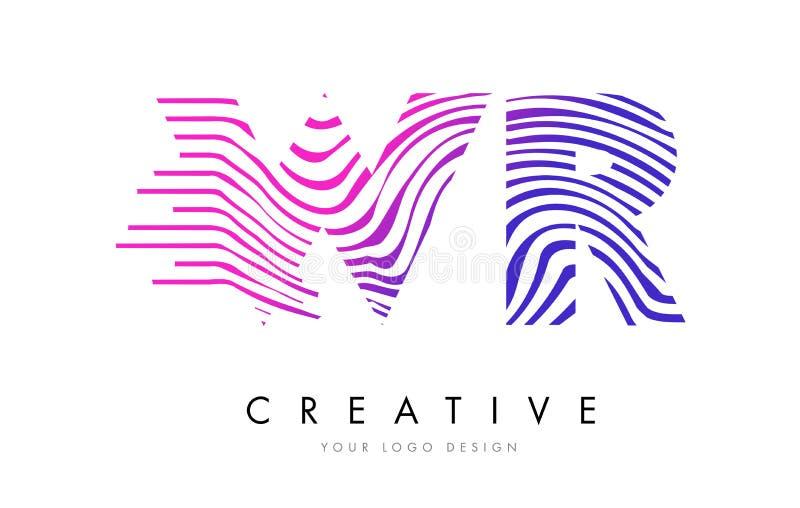 A zebra de WR W R alinha a letra Logo Design com cores magentas ilustração stock