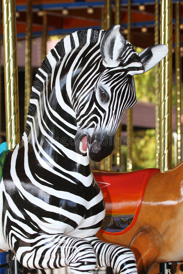 Zebra do carrossel fotografia de stock