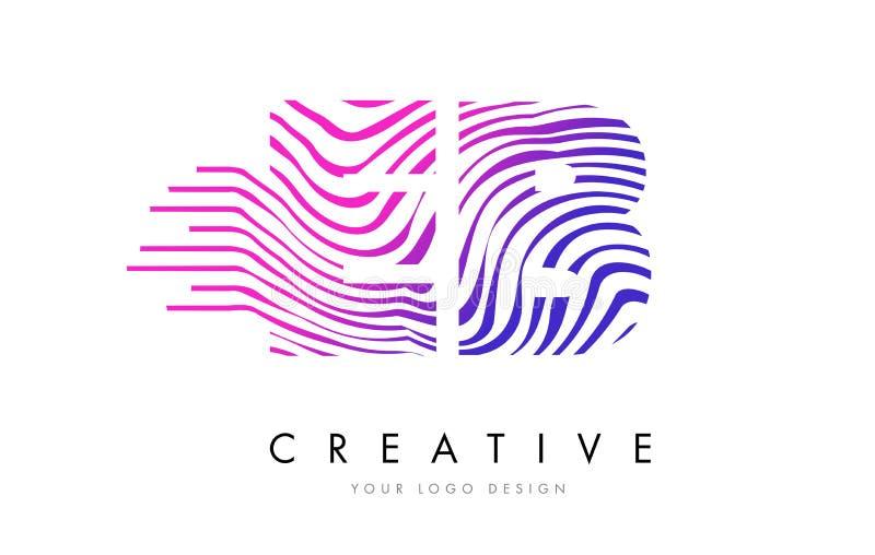 A zebra do EB E B alinha a letra Logo Design com cores magentas ilustração do vetor
