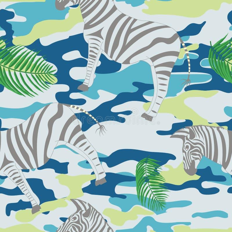 Zebra e foglie di palma blu fotografie stock