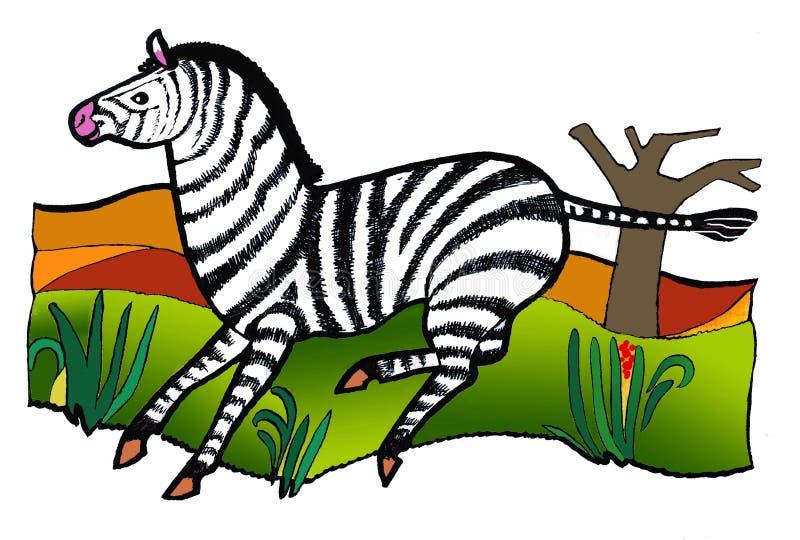 Zebra em revestimento listrado, livro de coloração imagens de stock