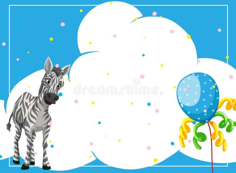 Zebra em um molde do quadro do partido ilustração do vetor
