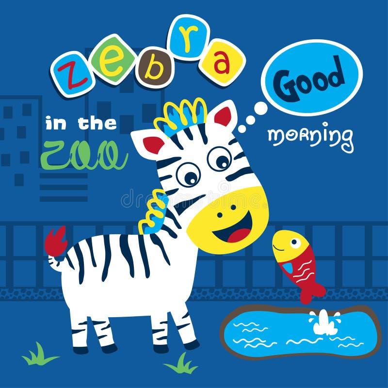 Zebra en vissen in het dierentuin grappige beeldverhaal, vectorillustratie stock illustratie