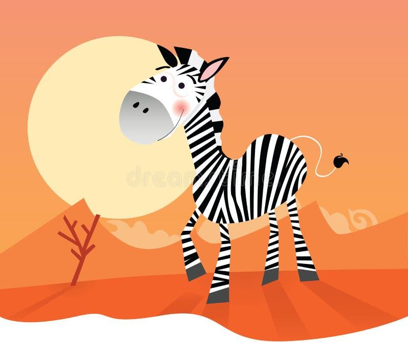 Zebra engraçada ilustração royalty free