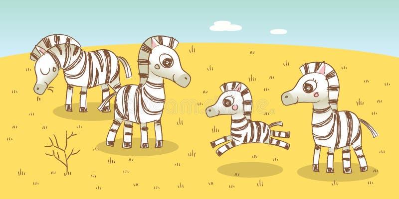 Zebra family. Savanna animals illustration